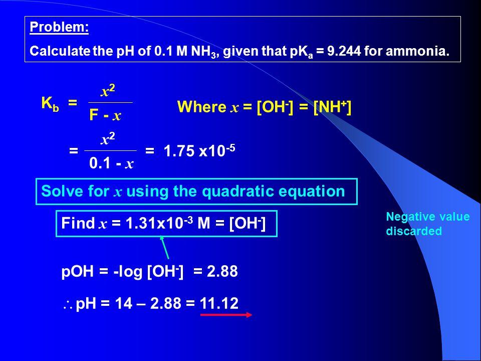 Solve for x using the quadratic equation