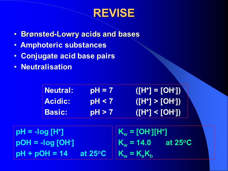 REVISE Brønsted-Lowry acids and bases Amphoteric substances