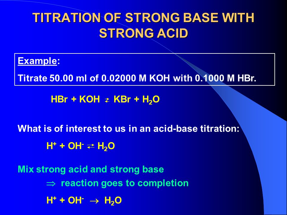 TITRATION OF STRONG BASE WITH STRONG ACID