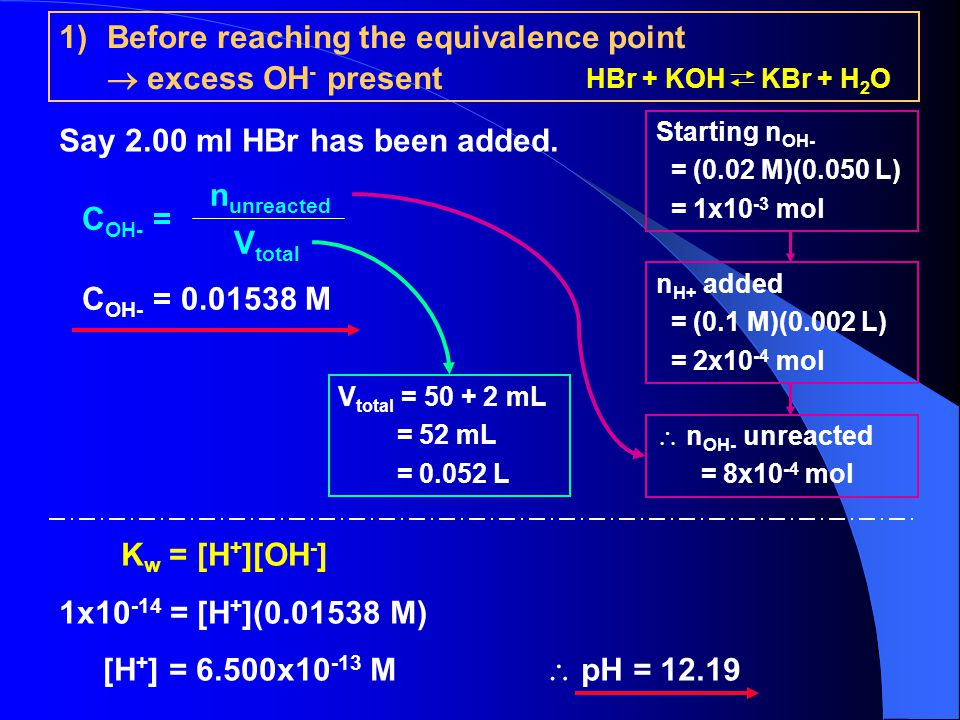 Before reaching the equivalence point  excess OH- present