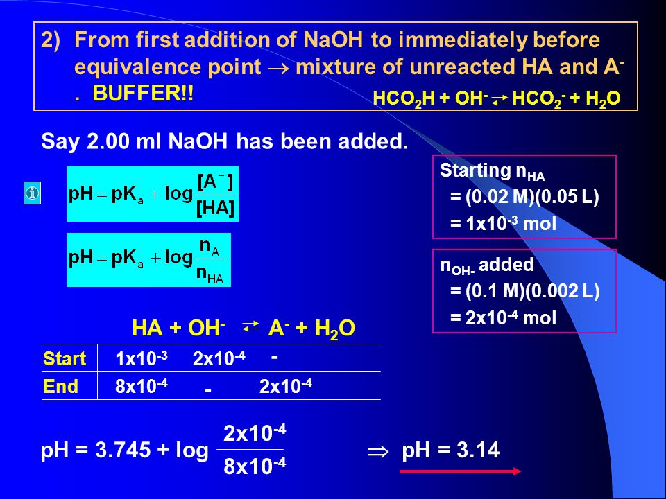 Say 2.00 ml NaOH has been added.