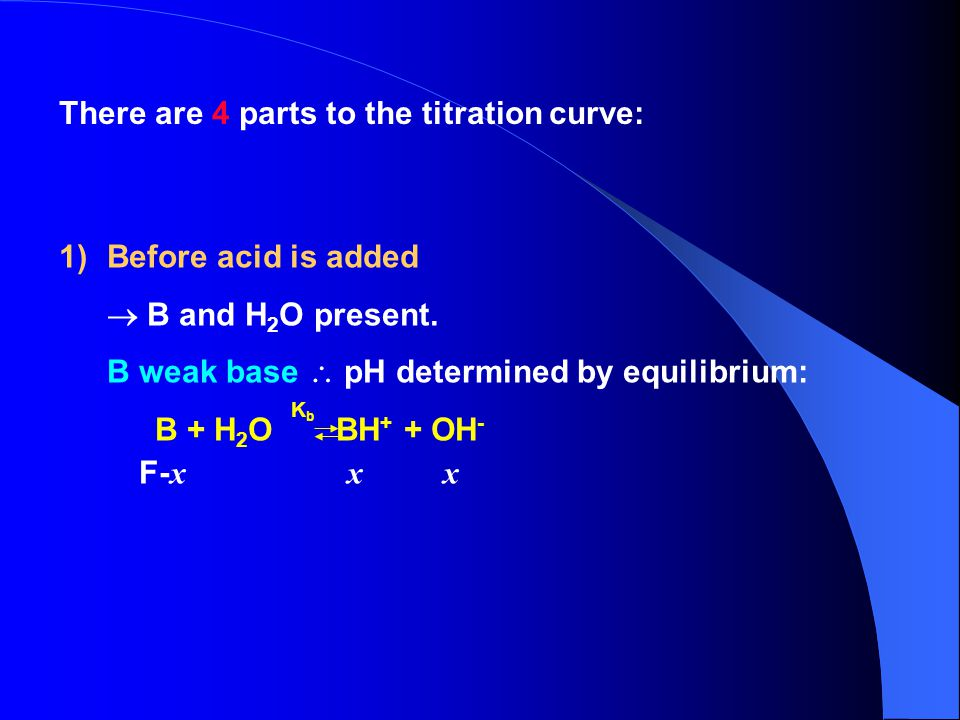 There are 4 parts to the titration curve: