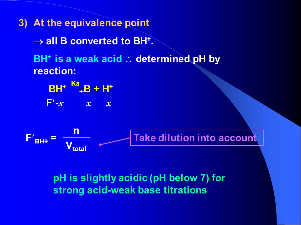 At the equivalence point  all B converted to BH+.