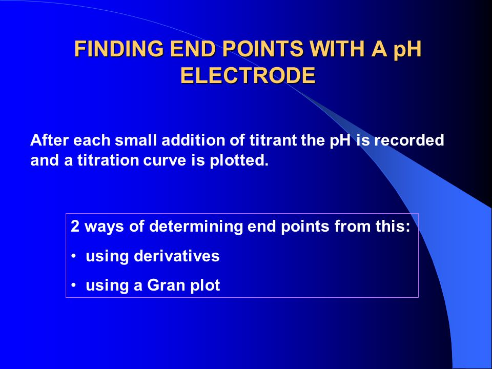 FINDING END POINTS WITH A pH ELECTRODE