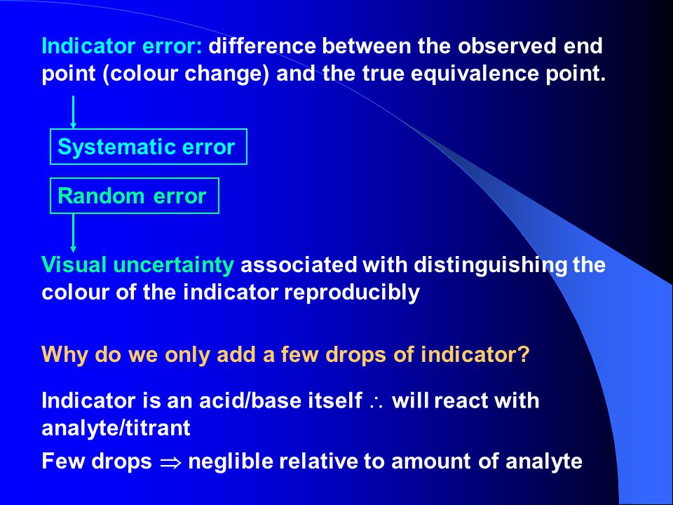 Indicator error: difference between the observed end point (colour change) and the true equivalence point.