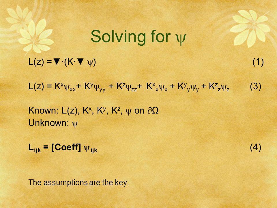 Solving for  L(z) =▼·(K·▼ ) (1)