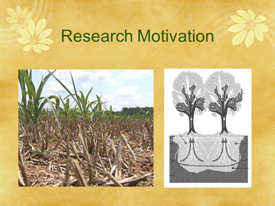 Research Motivation Field draught: http://www.wral.com/News/1522544/detail.html.