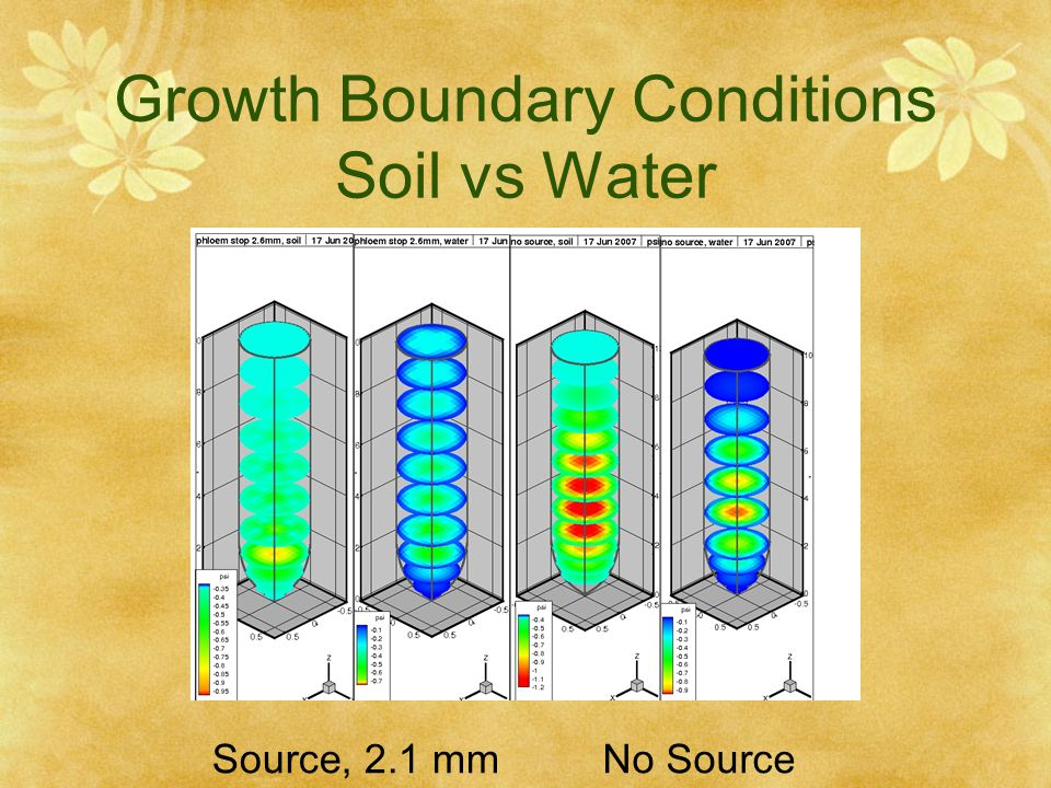 Growth Boundary Conditions Soil vs Water
