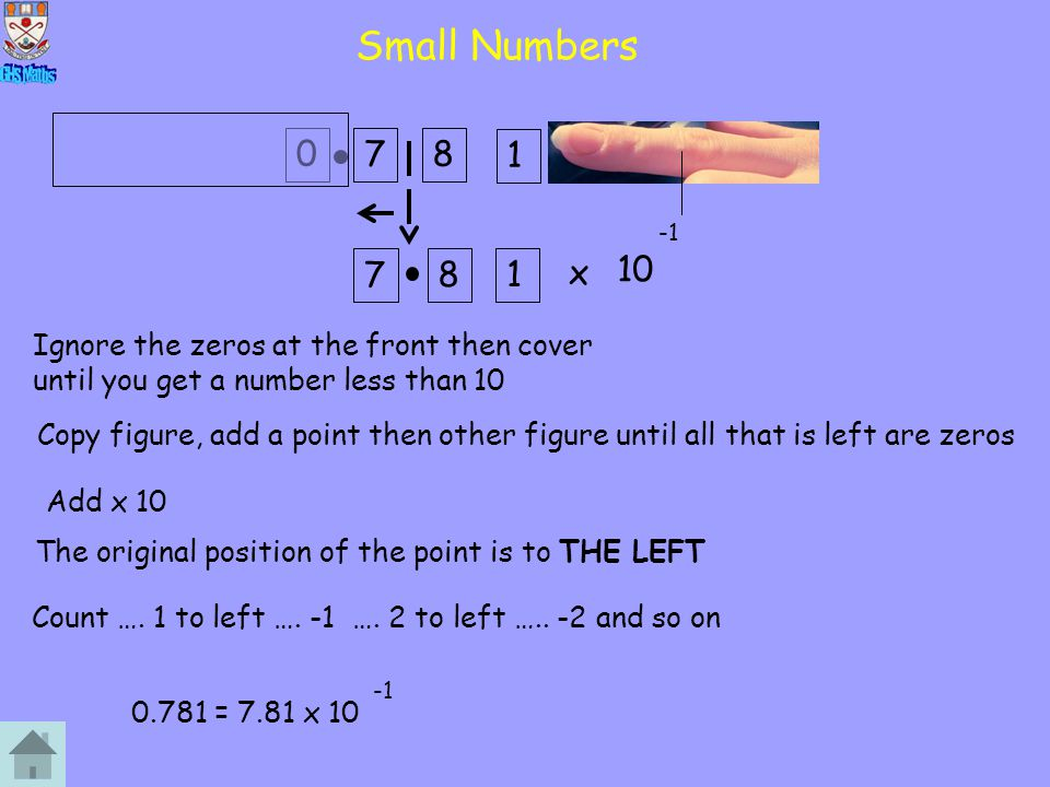 Small Numbers 7. 8. 1. -1. 7. 8. 1. x. 10. Ignore the zeros at the front then cover until you get a number less than 10.