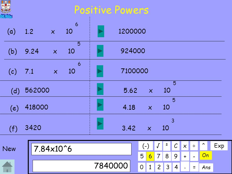 Positive Powers 5 5 4 6 x 6 7.84x10^6 7840000 (a) 1.2 x 10 1200000 (b)