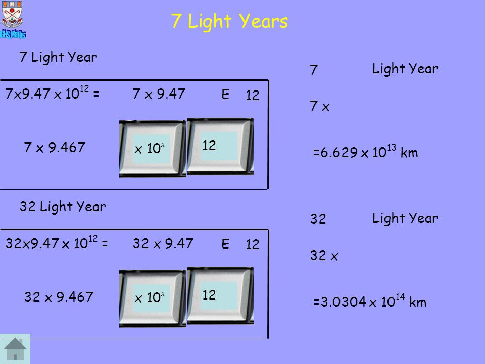 7 Light Years 7 Light Year 7 Light Year 9.467 x 1012 km