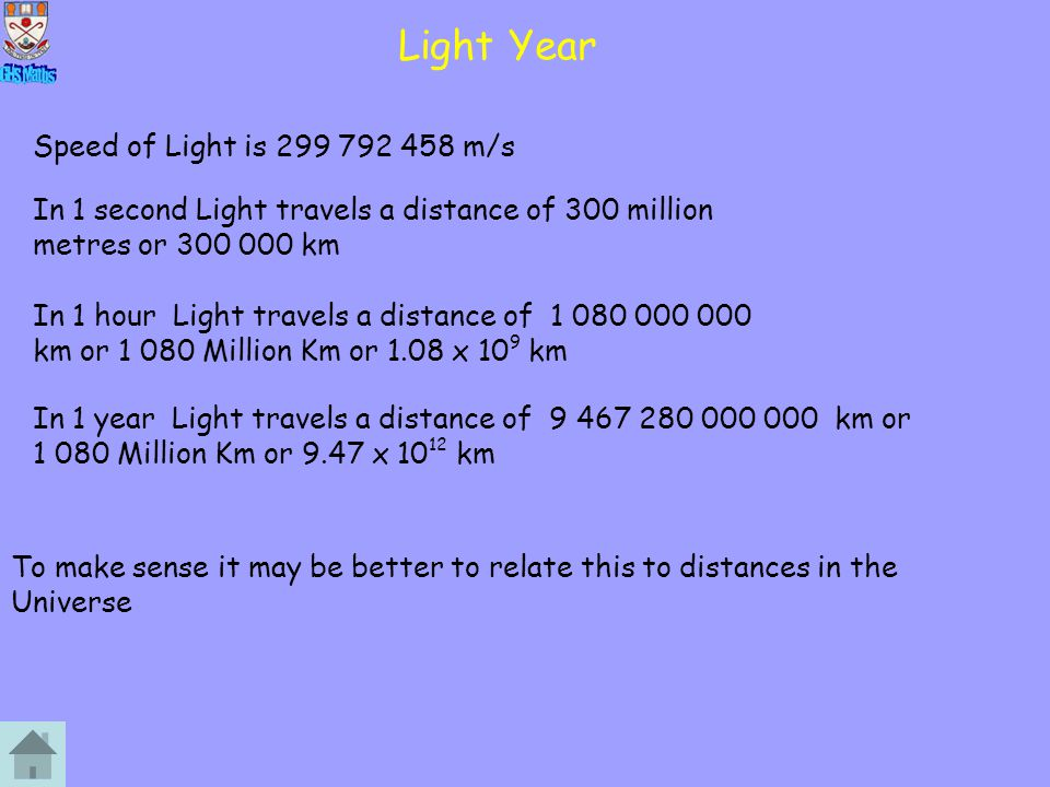 Light Year Speed of Light is 299 792 458 m/s