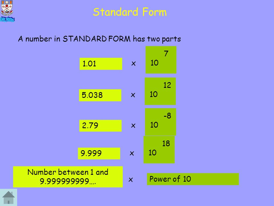 Standard Form A number in STANDARD FORM has two parts 7 1.01 1.01 x 10