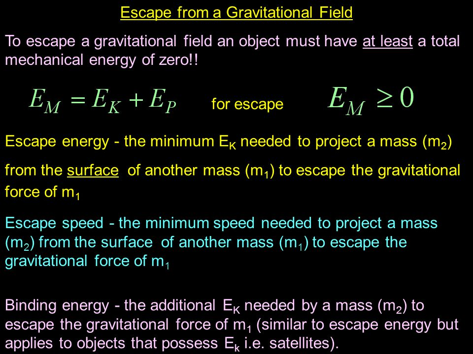 Escape from a Gravitational Field