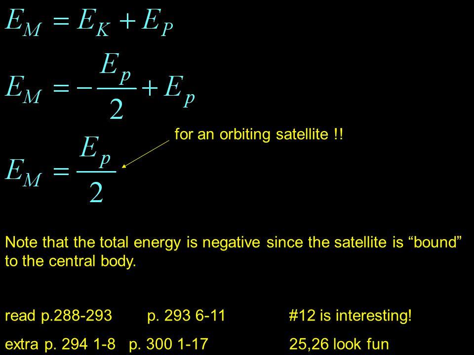for an orbiting satellite !!