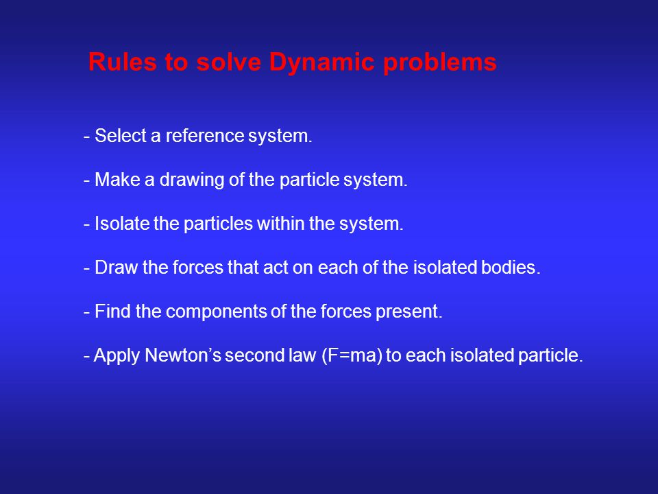 Rules to solve Dynamic problems