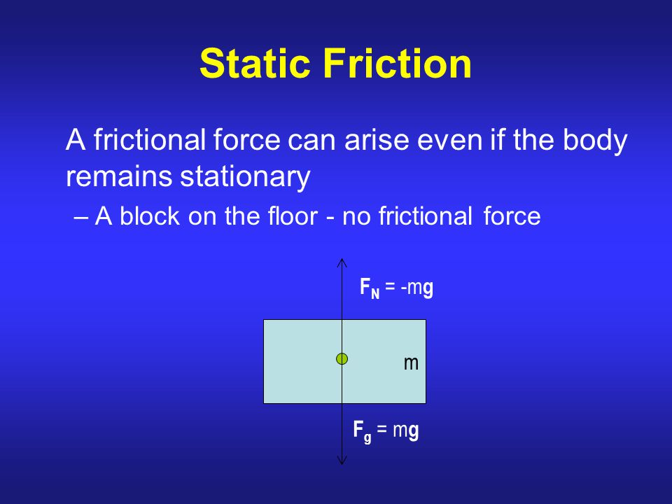 Static Friction A frictional force can arise even if the body remains stationary. A block on the floor - no frictional force.
