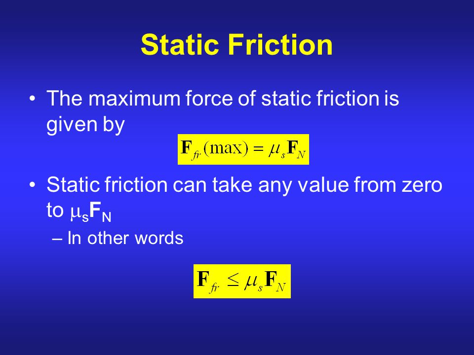Static Friction The maximum force of static friction is given by