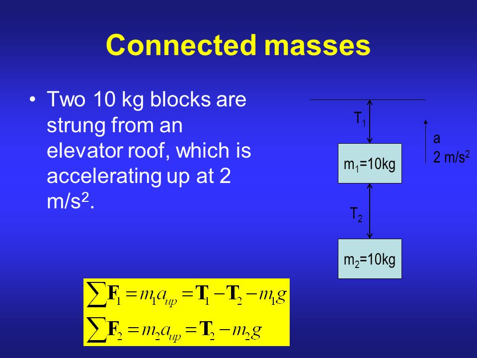 Connected masses Two 10 kg blocks are strung from an elevator roof, which is accelerating up at 2 m/s2.