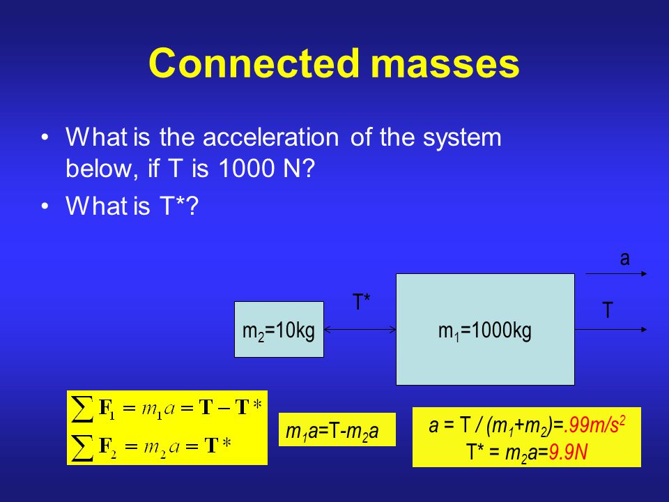 Connected masses What is the acceleration of the system below, if T is 1000 N What is T* a. m2=10kg.