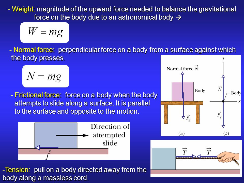 - Weight: magnitude of the upward force needed to balance the gravitational
