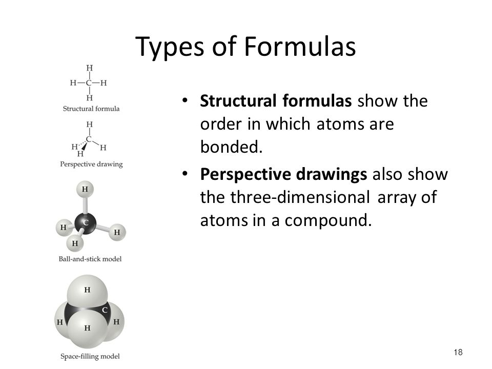 Types of Formulas Structural formulas show the order in which atoms are bonded.