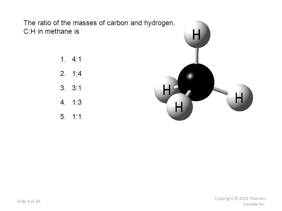 The ratio of the masses of carbon and hydrogen, C:H in methane is