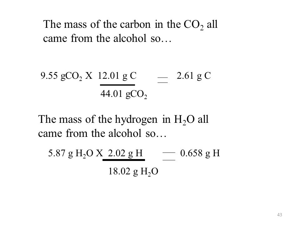 The mass of the carbon in the CO2 all came from the alcohol so…