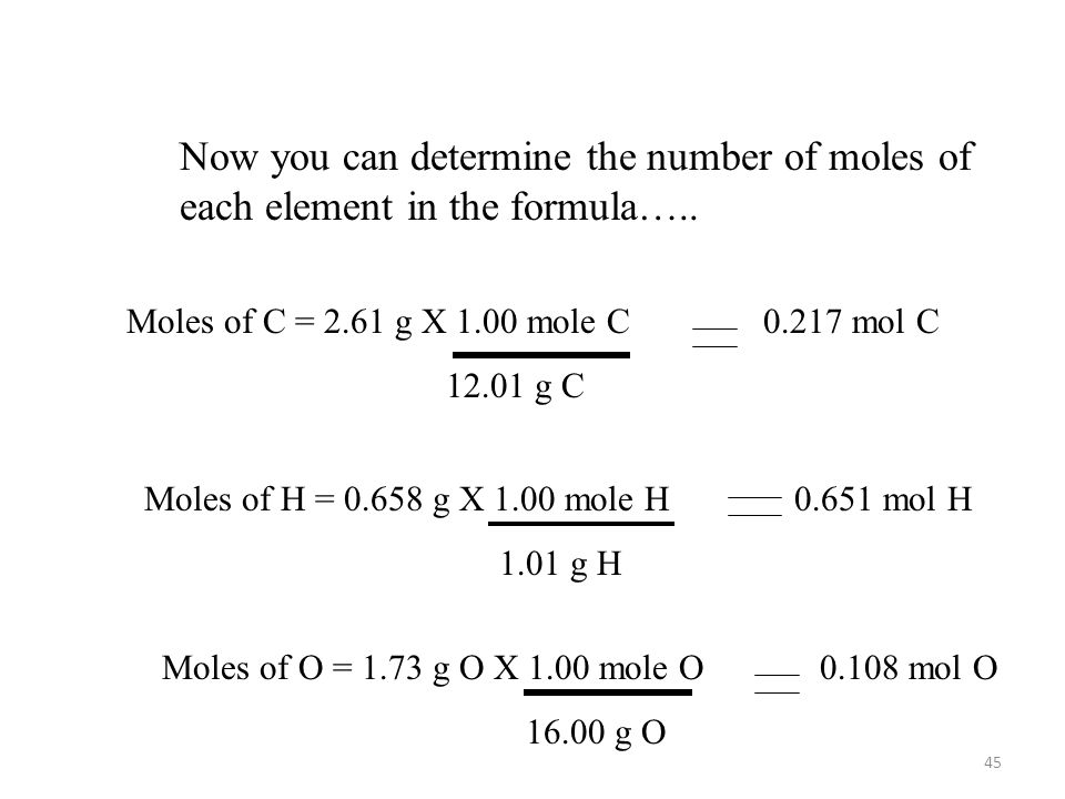 Now you can determine the number of moles of each element in the formula…..