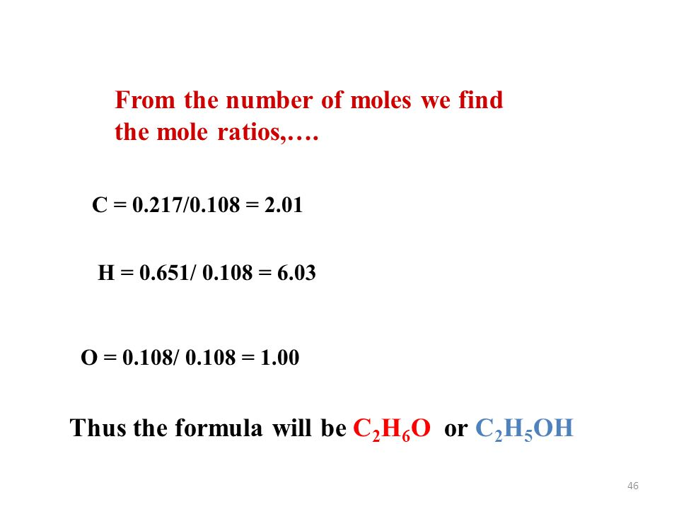 From the number of moles we find the mole ratios,….