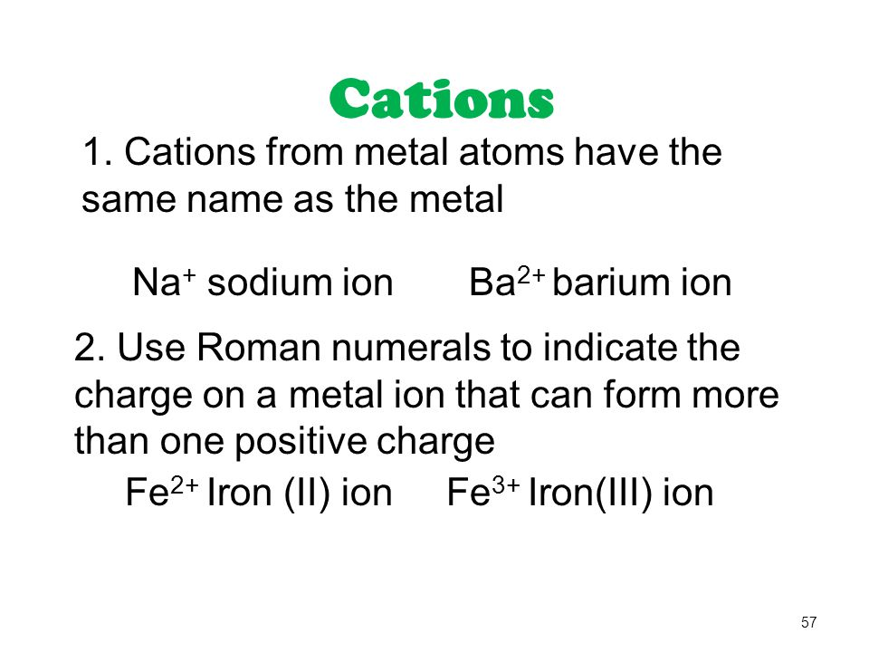 Cations 1. Cations from metal atoms have the same name as the metal