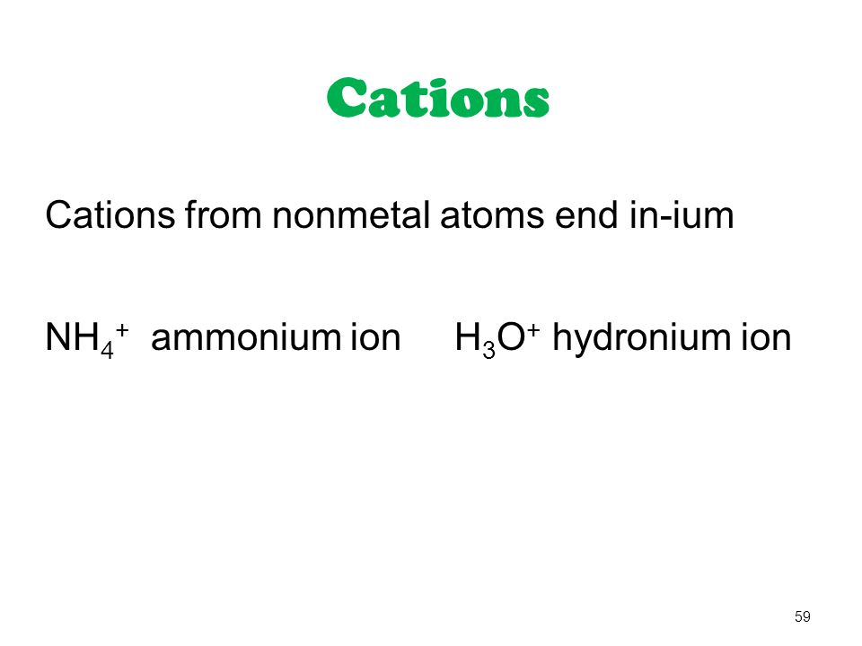 Cations Cations from nonmetal atoms end in-ium