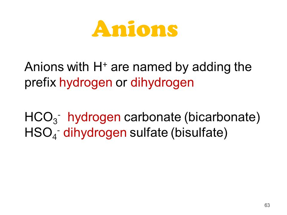 Anions Anions with H+ are named by adding the prefix hydrogen or dihydrogen. HCO3- hydrogen carbonate (bicarbonate)