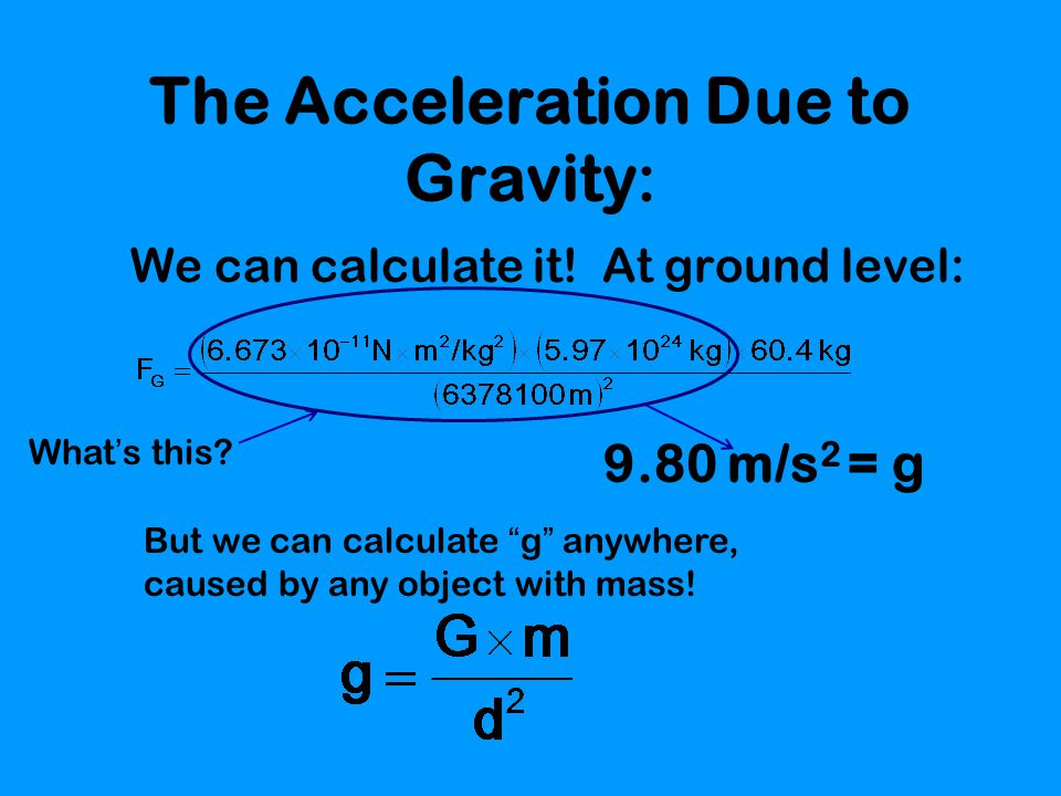 The Acceleration Due to Gravity: