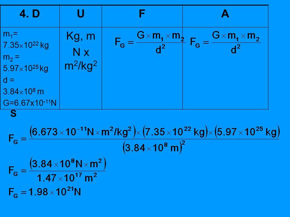 4. D U F A Kg, m N x m2/kg2 S m1= 7.351022 kg m2 = 5.971025 kg d =