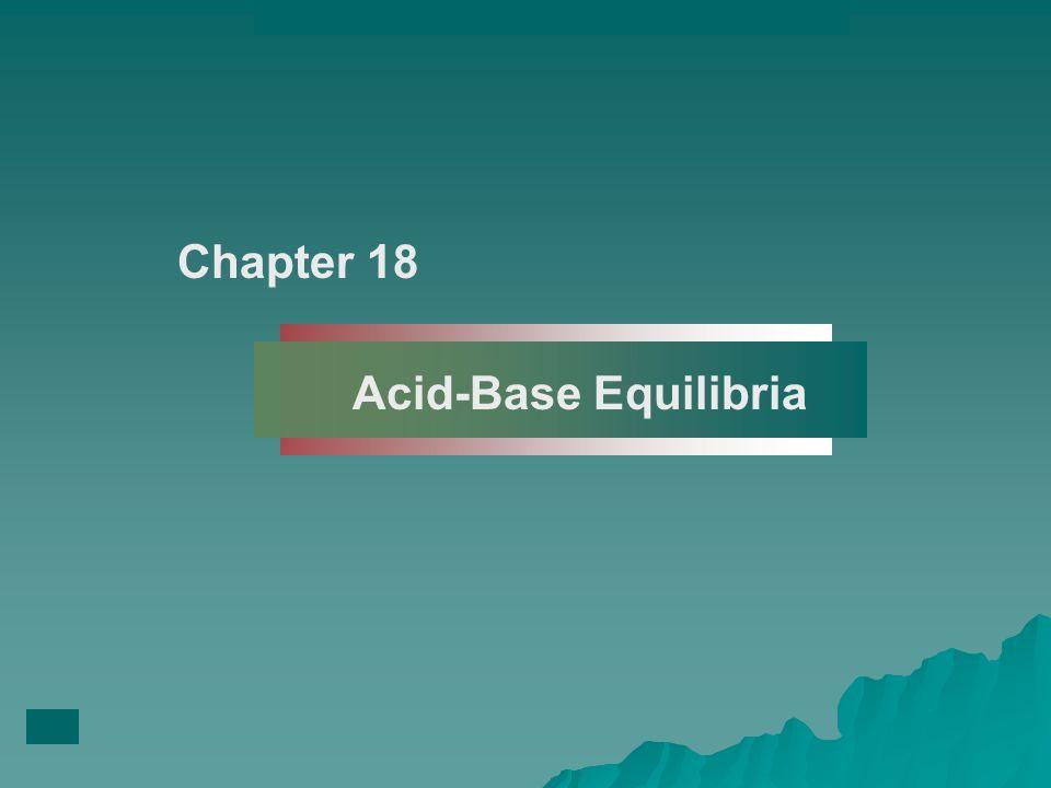 Chapter 18 Acid-Base Equilibria