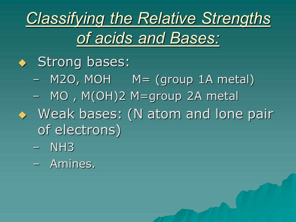 Classifying the Relative Strengths of acids and Bases:
