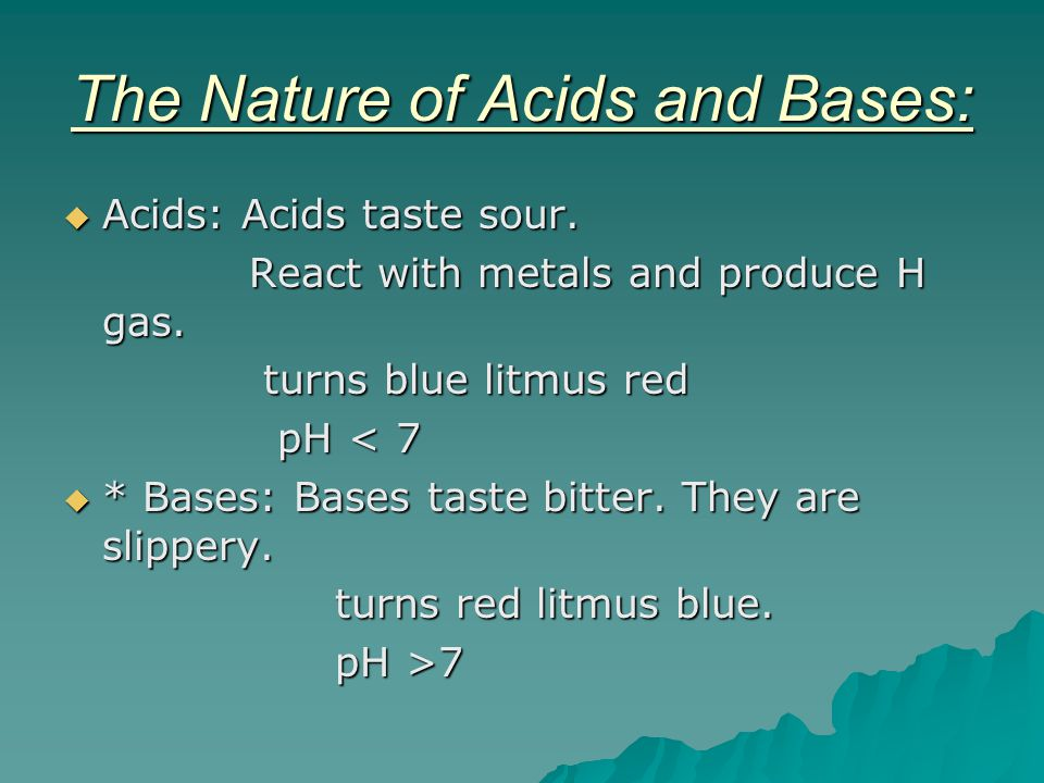 The Nature of Acids and Bases: