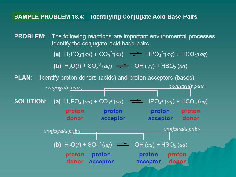 SAMPLE PROBLEM 18.4: Identifying Conjugate Acid-Base Pairs. PROBLEM: