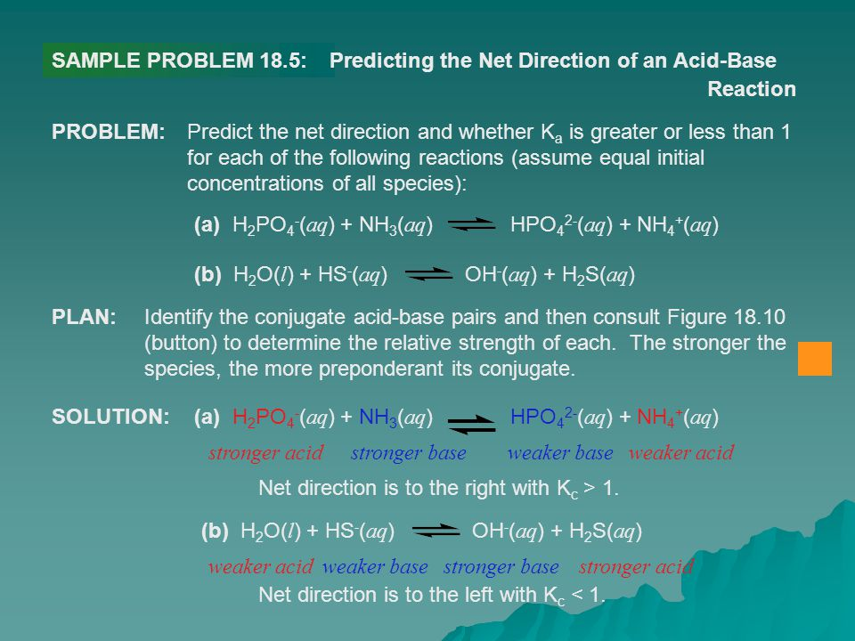 SAMPLE PROBLEM 18.5: Predicting the Net Direction of an Acid-Base. Reaction. PROBLEM: