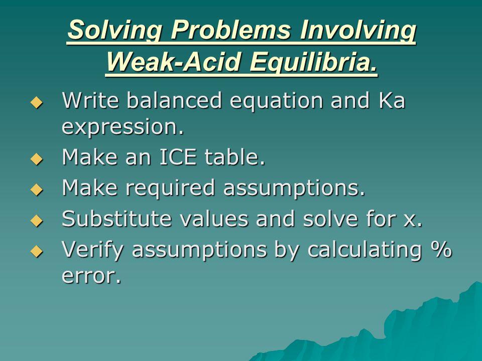 Solving Problems Involving Weak-Acid Equilibria.