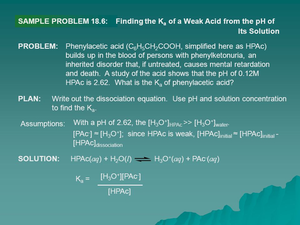 SAMPLE PROBLEM 18.6: Finding the Ka of a Weak Acid from the pH of. Its Solution. PROBLEM: