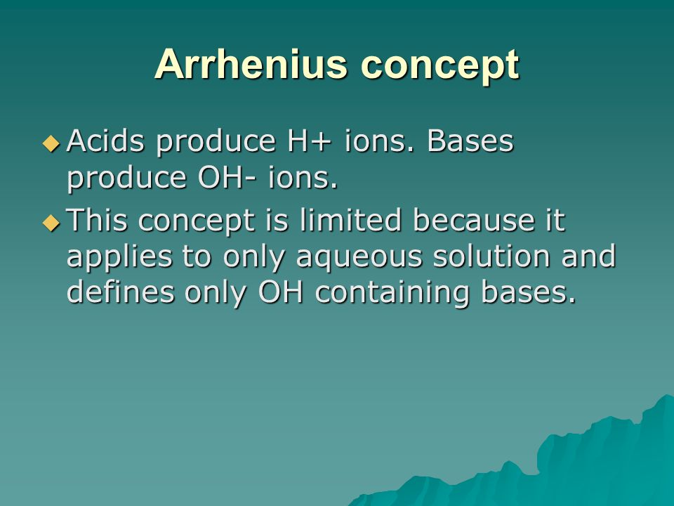 Arrhenius concept Acids produce H+ ions. Bases produce OH- ions.