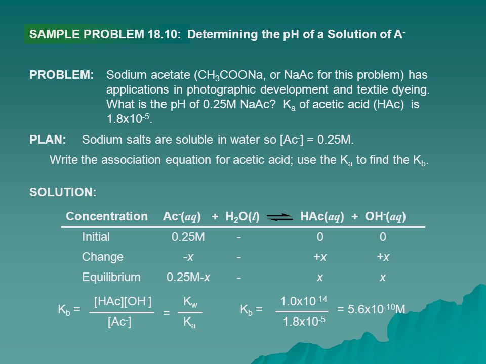 SAMPLE PROBLEM 18.10: Determining the pH of a Solution of A- PROBLEM: