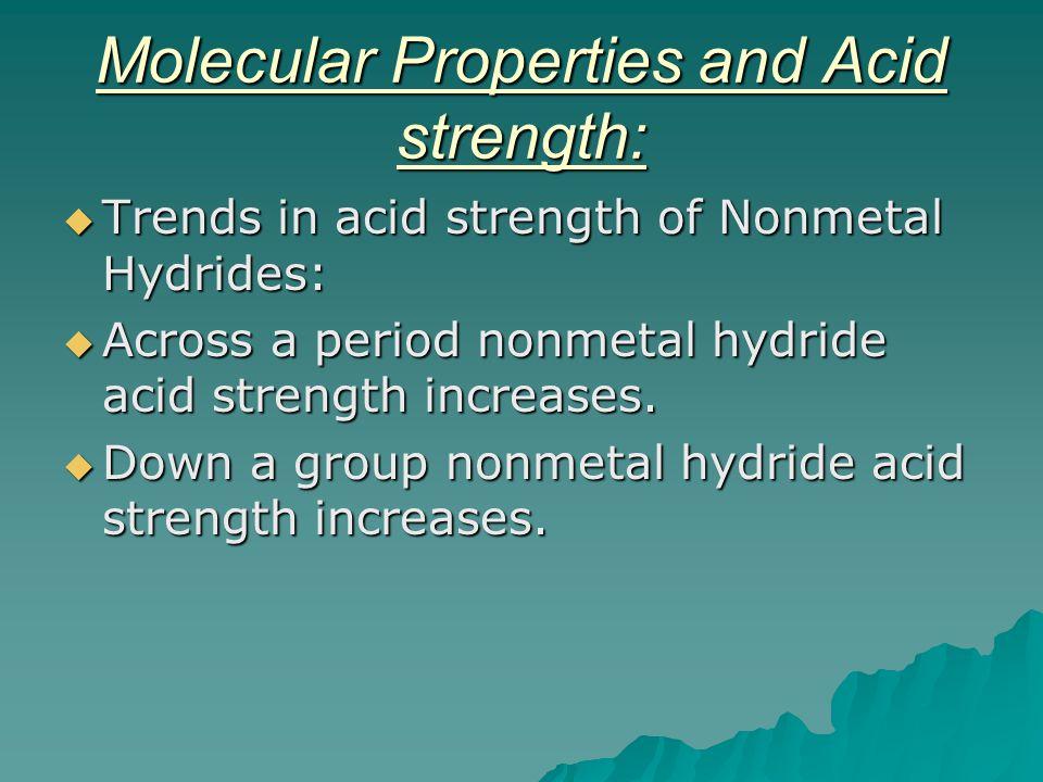 Molecular Properties and Acid strength: