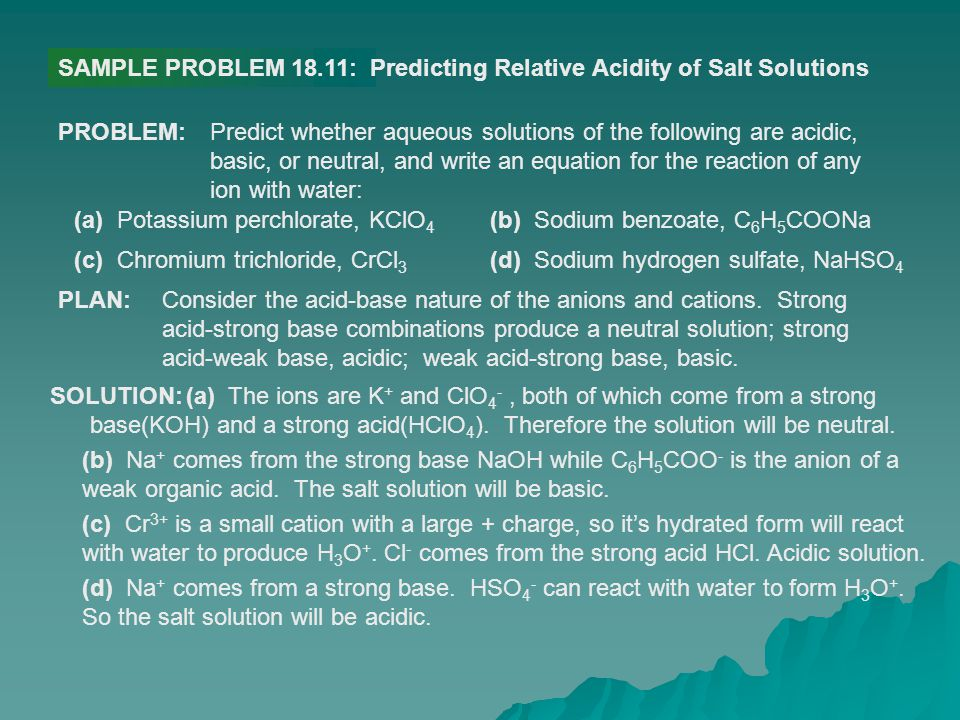 SAMPLE PROBLEM 18.11: Predicting Relative Acidity of Salt Solutions. PROBLEM: