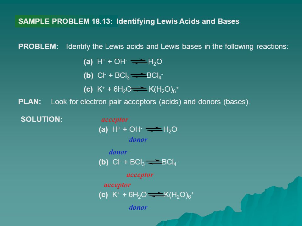 SAMPLE PROBLEM 18.13: Identifying Lewis Acids and Bases. PROBLEM: Identify the Lewis acids and Lewis bases in the following reactions: