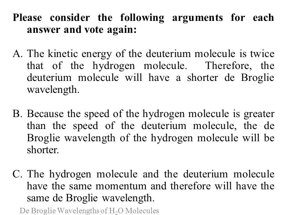 De Broglie Wavelengths of H2O Molecules