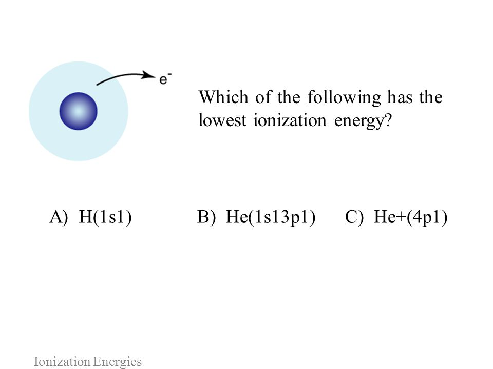 A) H(1s1) B) He(1s13p1) C) He+(4p1)