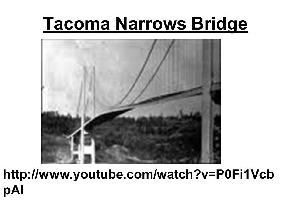 Tacoma Narrows Bridge http://www.youtube.com/watch v=P0Fi1VcbpAI